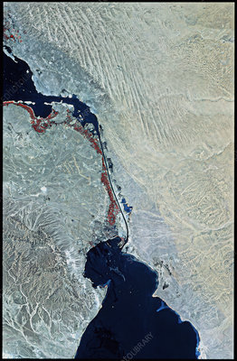Infrared SPOT satellite image of Suez Canal