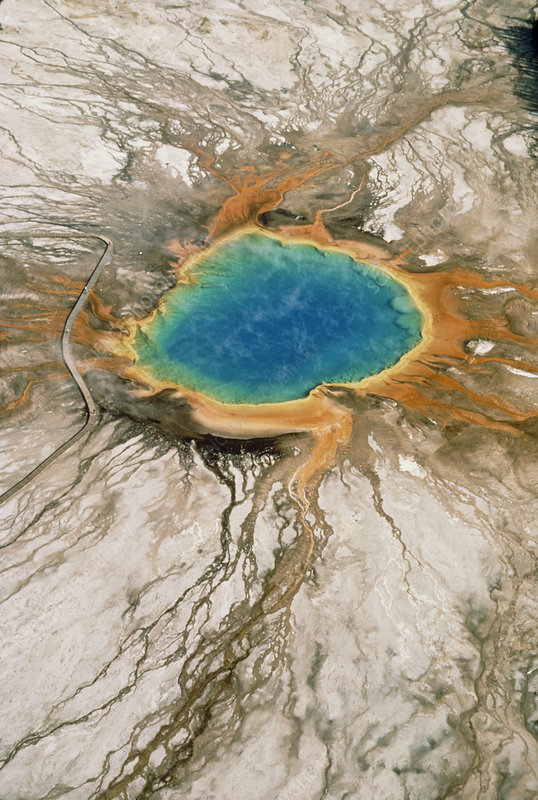 Aerial photo of Grand Prismatic Pool, Yellowstone