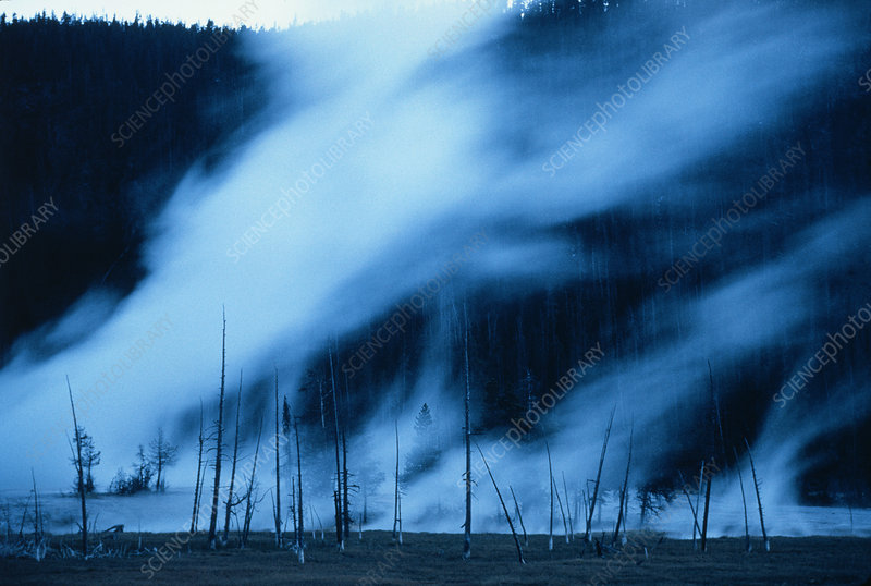 Steam trails rising from geysers