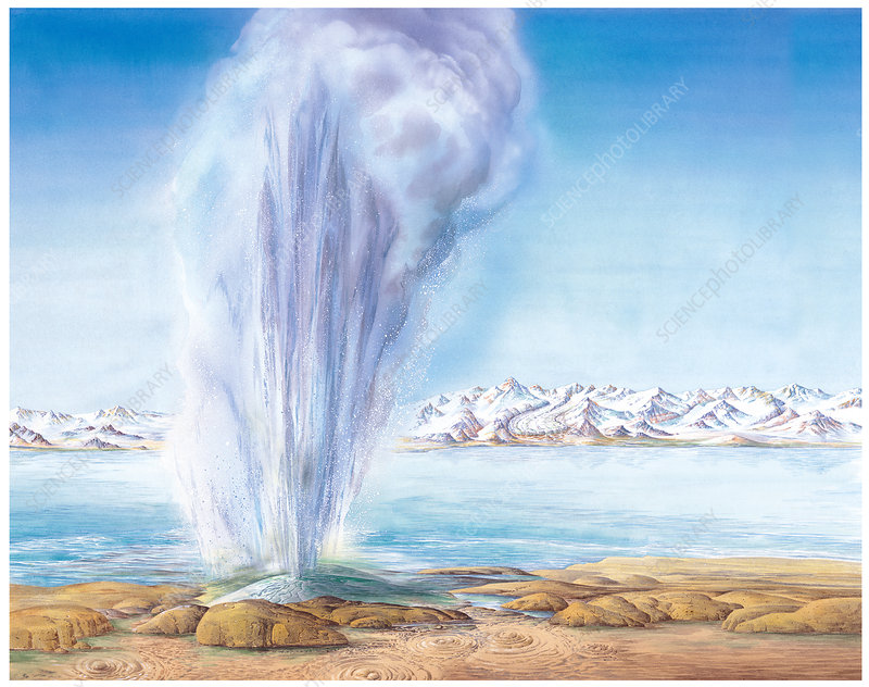 Geyser erupting, artwork