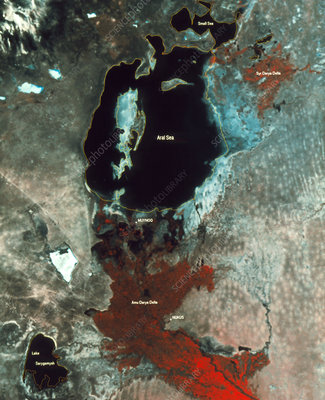 Aral Sea, infrare satellite image, 1993