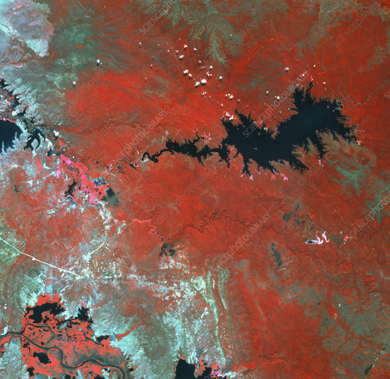 Catete hydroelectric reservoir, Angola, from space