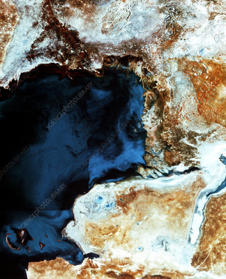 Infrared satellite image of the Caspian Sea