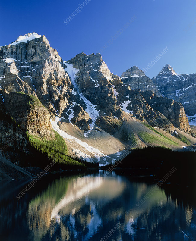 Mountains reflected in Moraine Lake, Canada