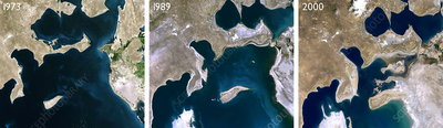 Aral Sea reduction 1973-2000