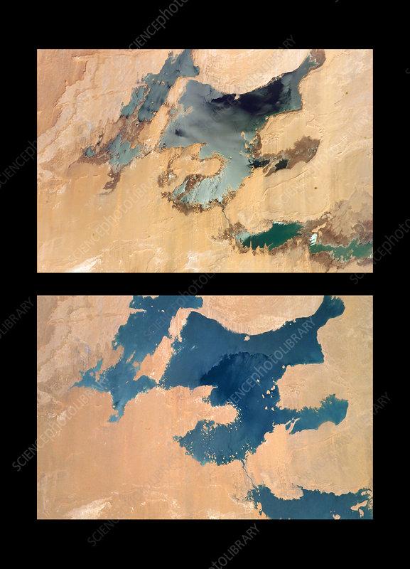 Toshka Lakes drying, 2001 to 2005 - Stock Image - E590/0211