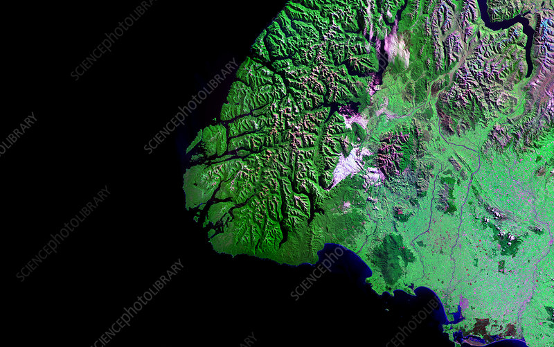 Fiordland, New Zealand, satellite image
