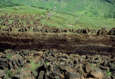 Traditional peat cutting, south west Ireland