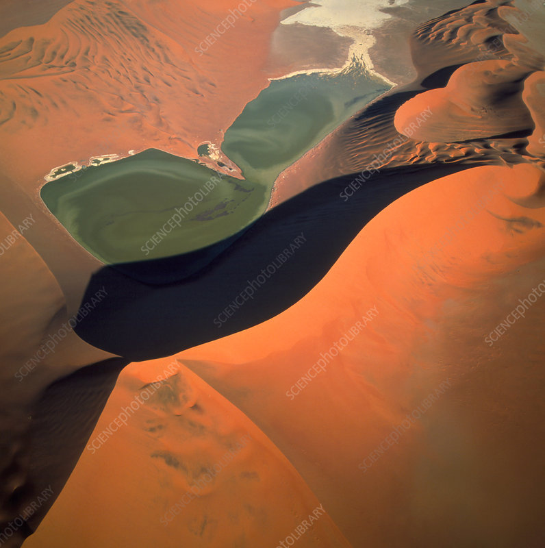 Aerial view of temporary river in the Namib desert