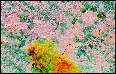 Coloured radar satellite image of deforestation