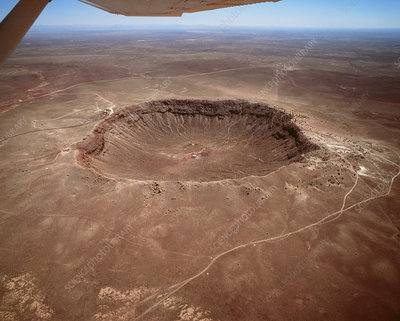 Aerial view of Meteor Crater, Arizona