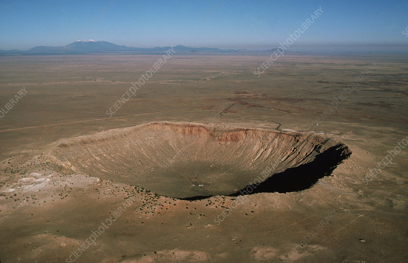 Meteor crater in Arizona, aerial view