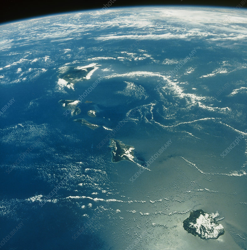 Shuttle photograph of the Hawaiian island chain
