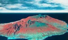 3D infrared satellite image of Reunion Island