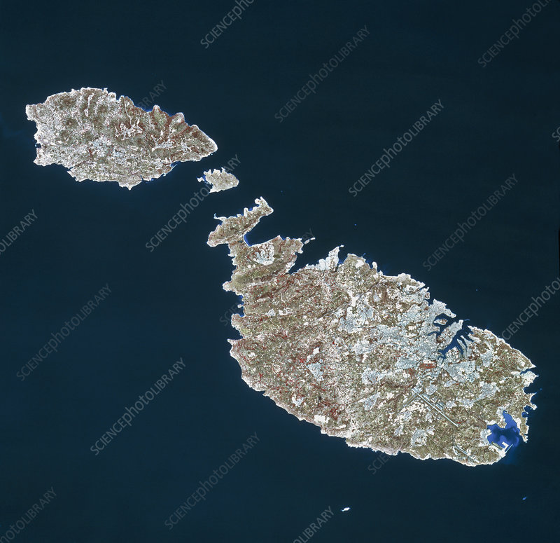 Infrared satellite image of Malta and Gozo