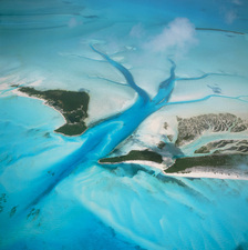 View of islands and a tidal estuary in the Bahamas