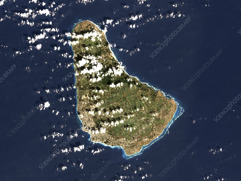 Barbados, satellite image