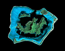 Satellite image of a coral reef & Bora Bora island