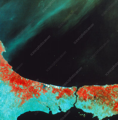Satellite image of Istanbul and the Bosporus