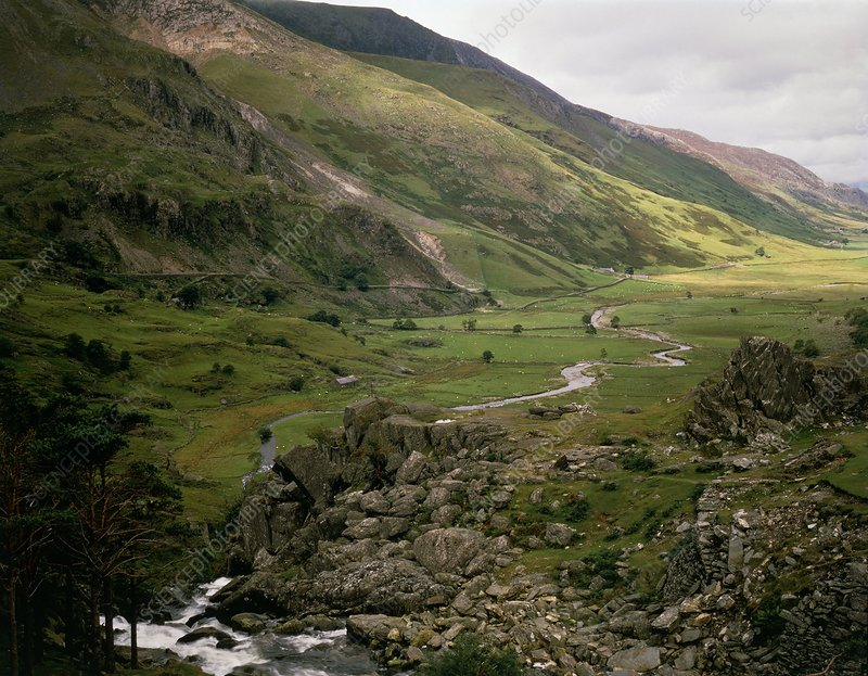 View of Nant Ffranton Valley, North Wales