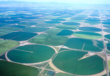 Aerial view of centre pivot irrigation