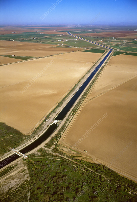 Irrigation canal and fields