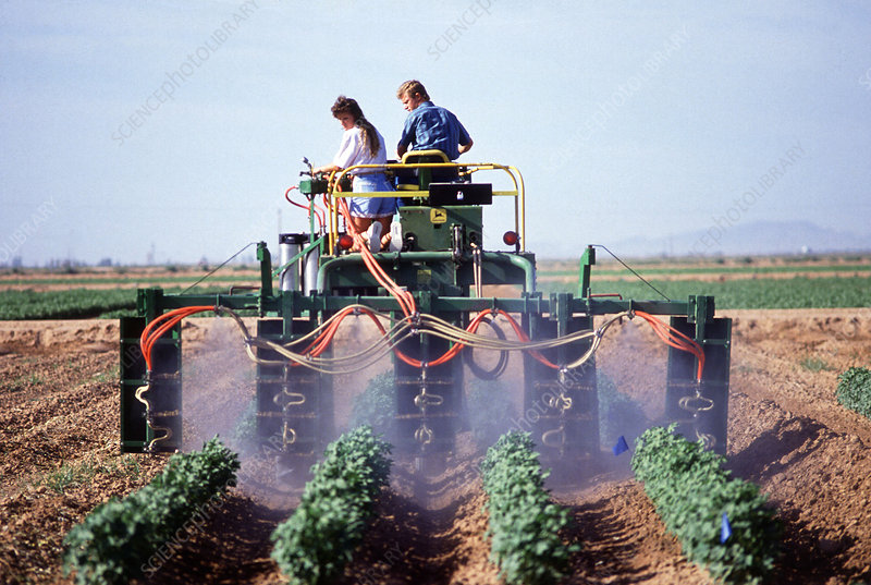 Spraying fields for pests
