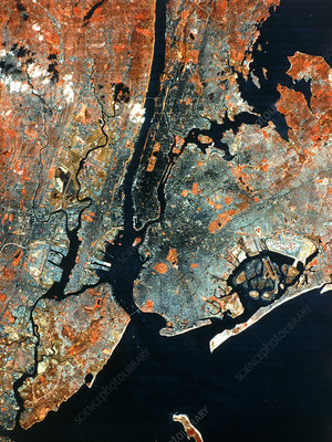 Landsat infrared image of New York City