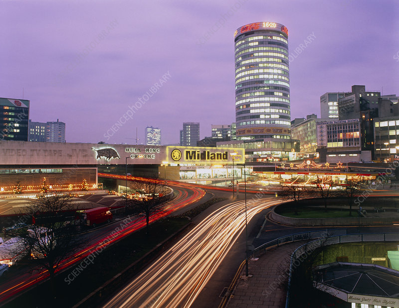 Night-time photo of Bull Ring Centre, Birmingham