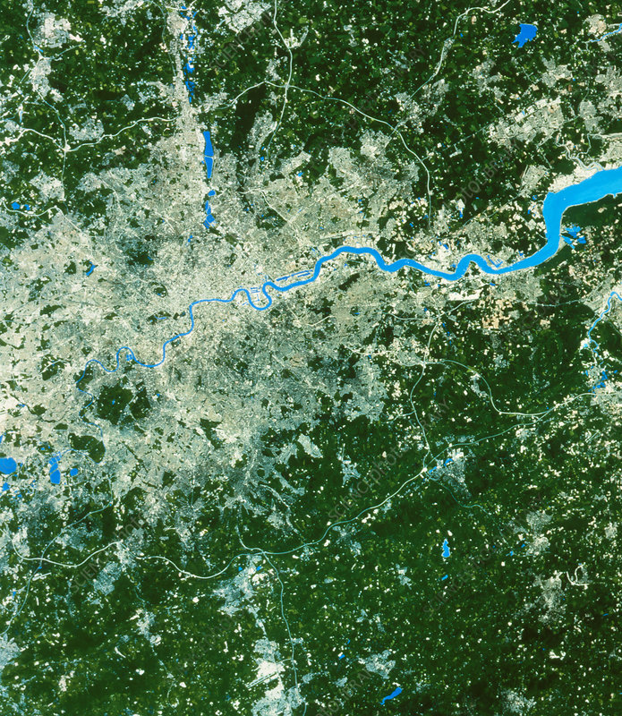 SPOT satellite image of the city of London