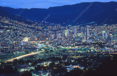 View of Medellin an dusk