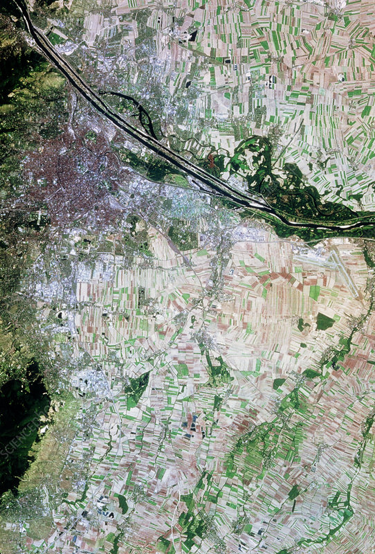 Vienna and surroundings seen from space