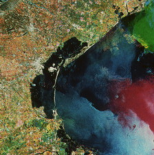 Coloured radar satellite image of Venice
