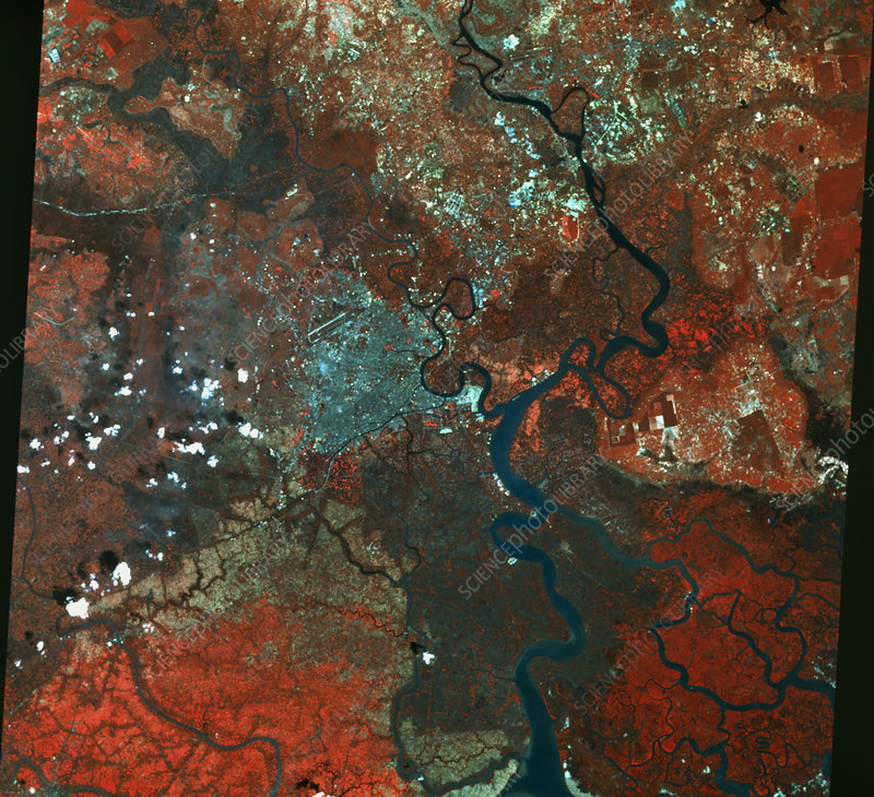 Infrared SPOT-3 Satellite Image Of Ho Chi Minh