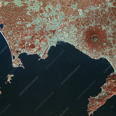 Infrared SPOT-1 satellite image of Naples, Italy
