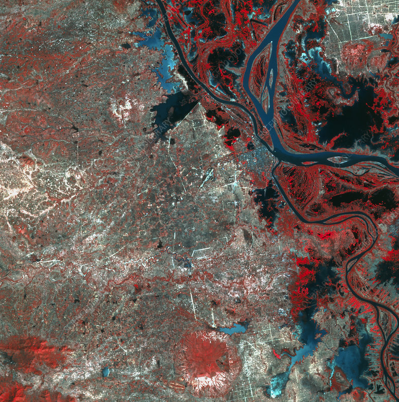 Infrared satellite image of Phnom Penh, Cambodia