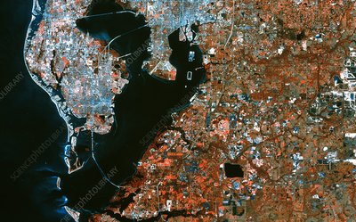 Infrared satellite image of Tampa & St Petersburg