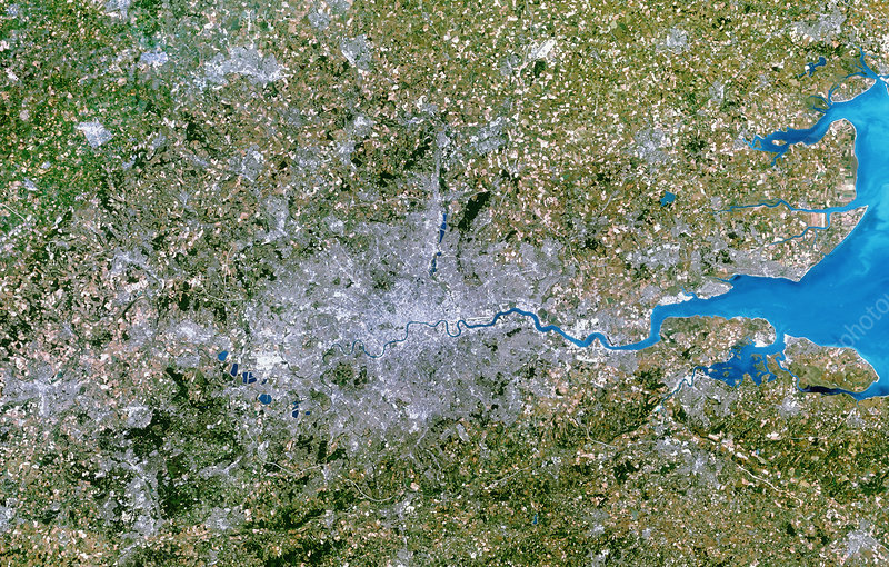 Satellite image of Greater London, UK