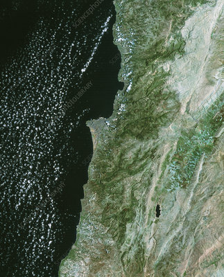 Satellite image of Beirut, Lebanon, and environs