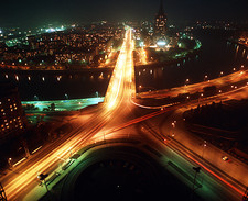 Time-exposure of Moscow, Russia, at night