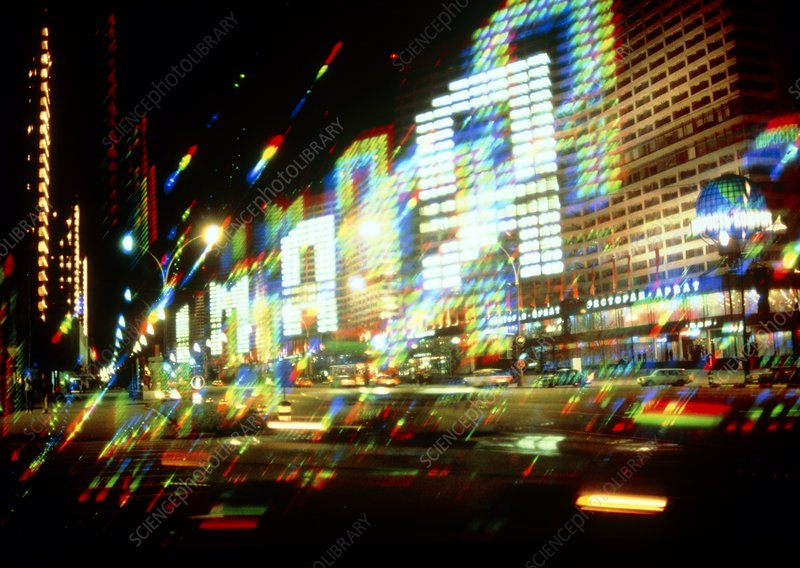 Multiple-exposure photograph of Moscow city lights