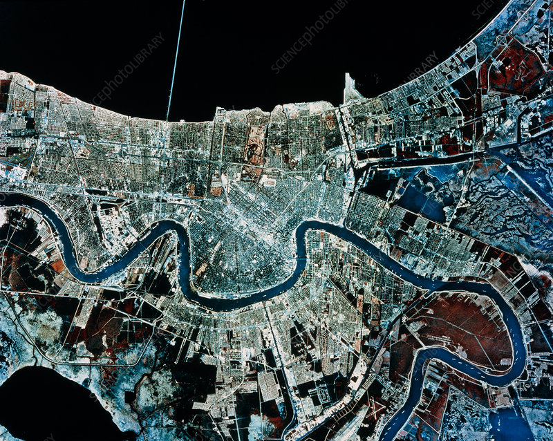 Aerial infrared view of New Orleans, USA