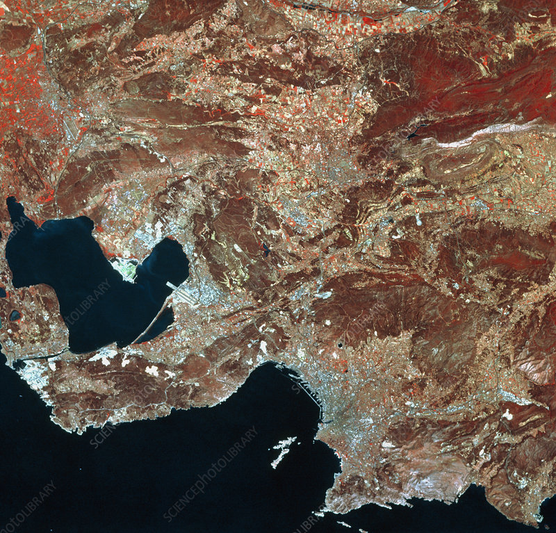Infrared satellite image of Marseilles, France