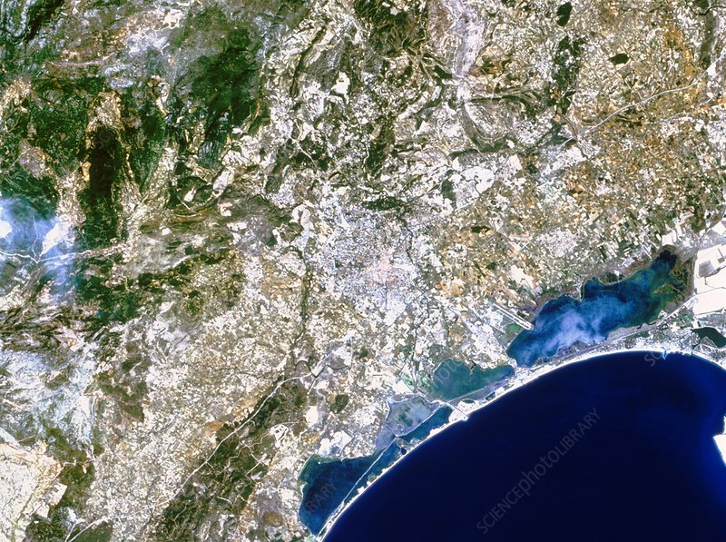 True-colour satellite image of Montpellier, France