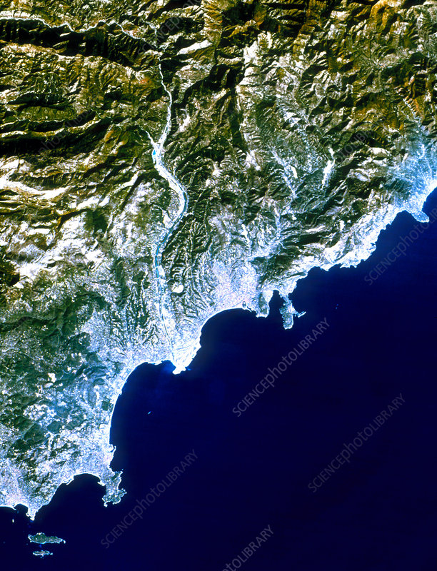 True-colour satellite image of Nice, France