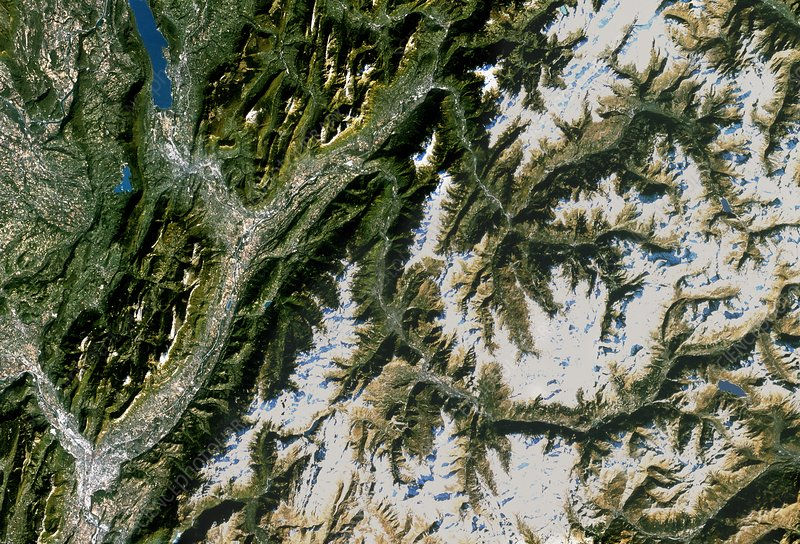 True-colour satellite image of Grenoble, France