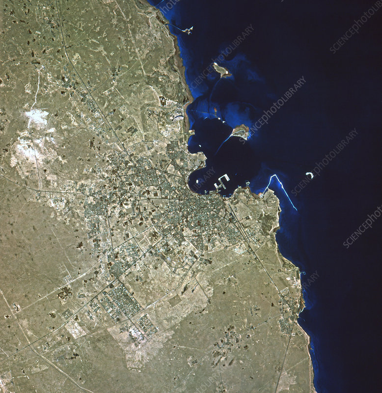 Satellite image of Doha, capital of Qatar