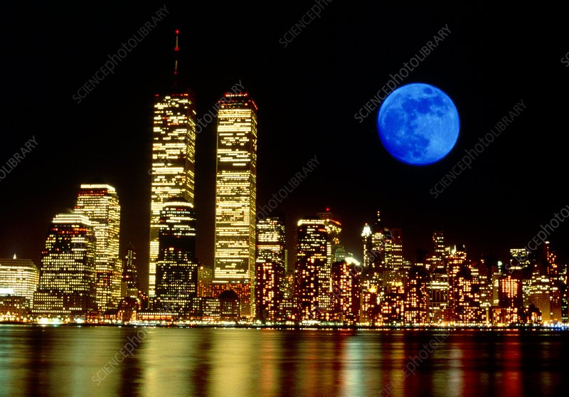 Full moon over Manhattan, New York, USA