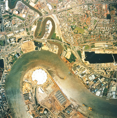 Aerial image of London and its Millennium Dome