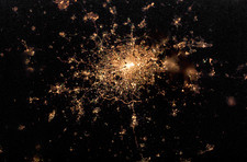 London at night, from space